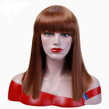 купить Straight Hair With Bangs Black Brown Blonde Wigs For Women Synthetic Cosplay Party Halloween Wig Heat Resistant JINKAILI дешево