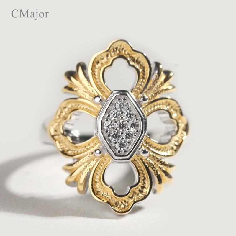 CMajor bijoux en argent massif croix fleur creux élégant dentelle mode Vintage anneaux pour les femmes