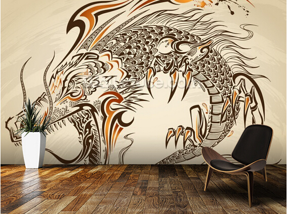 Retro Art Woonkamer : Custom retro behang tattoo art dragon d behang voor woonkamer