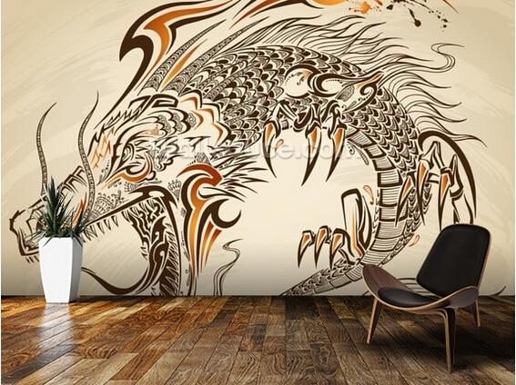 Custom retro wallpaper,Tattoo Art - Dragon,3D wallpaper for living room bedroom kitchen