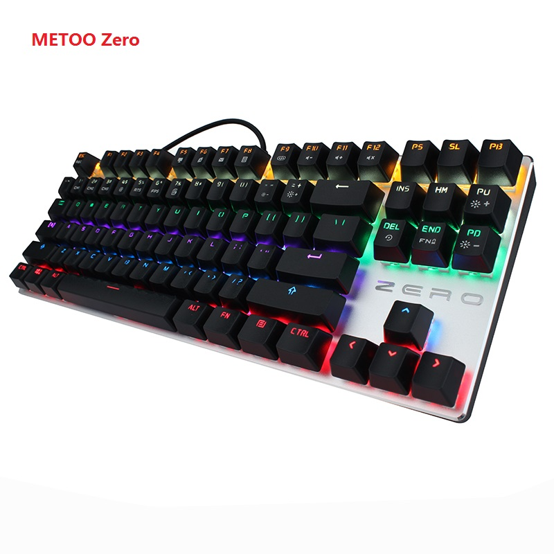 METOO Zero Mechanical keyboard 87/104 keys Black Blue Red switch Gaming keyboard   teclado  for Desktop Laptop Russian stickers