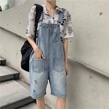 Korean Style Denim Overalls Women Harajuku Holes Pockets Overall Shorts Jeans Loose Streetwear Cool Womens Summer S-L
