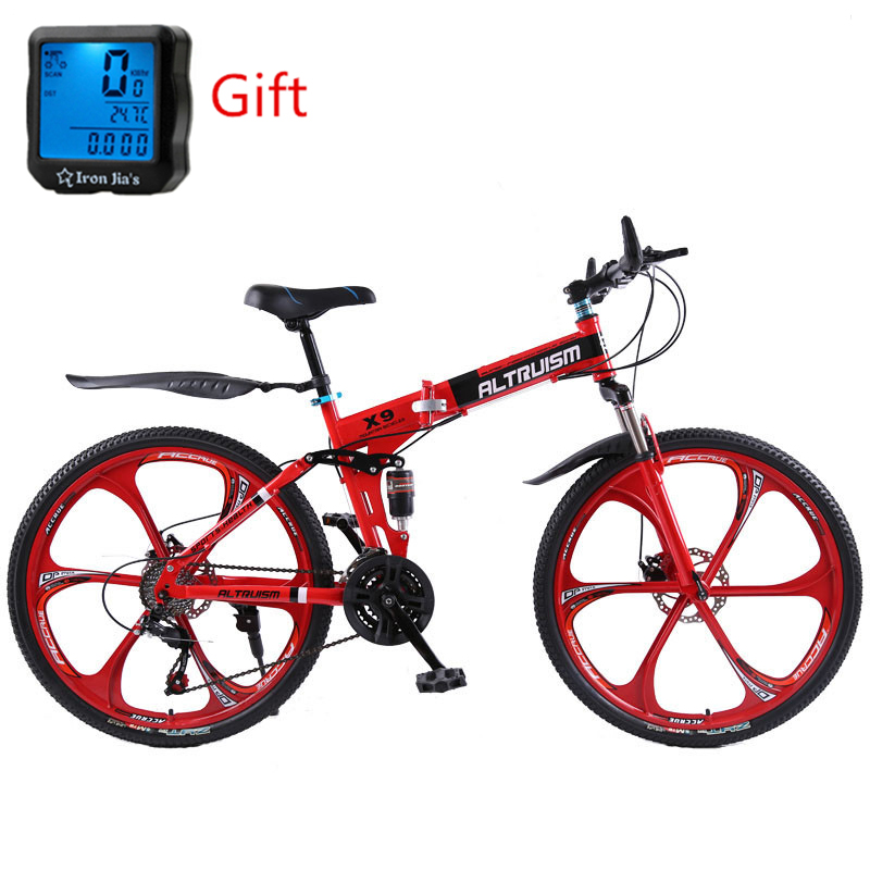 Altruism X9 26 inch Bicycle Steel 21 Speed Folding Road Mountain Bike Double Disc Brakes Variabl Bisiklet Racing Bicicleta kubeen downhill mountain bike steel 26 inch 21 speed bici corsa bikes mens bisiklet folding bicycle bicicleta bisiklet