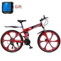 Altruism x9 26 인치 자전거 스틸 21 속도 접이식 도로 산악 자전거 더블 디스크 브레이크 variabl bisiklet racing bicicleta