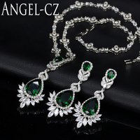 ANGELCZ Vintage African Cubic Zirconia Stone Wedding Jewelry For Women Dark Green Gem Long Drop Necklace Earrings Sets AJ051