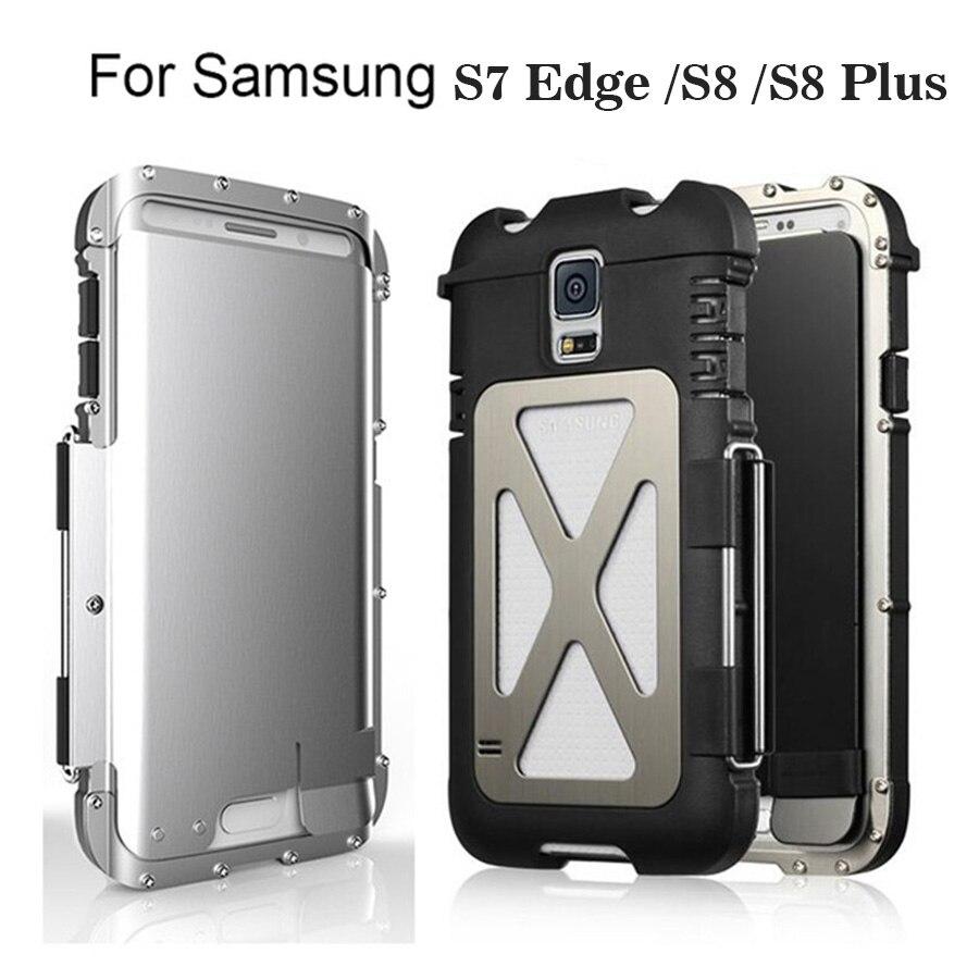 imágenes para S7 borde 100% Original R-JUST Rey Hombre de Hierro A Prueba de Golpes de Metal Flip Caso de La Contraportada para Samsung Galaxy S8 Más