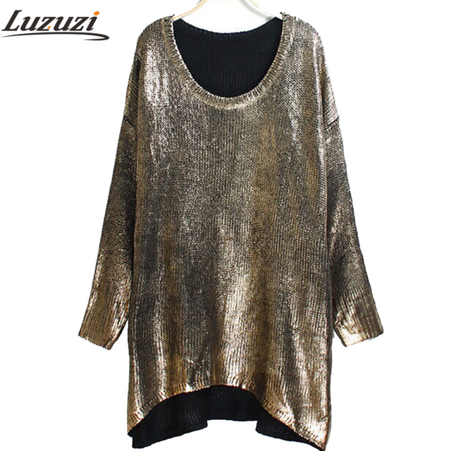 2015 Spring Winter Autumn Women Loose Bat Metal Pullover Plus Size Bronzier Low-high Thick Thread Sweater PH0232
