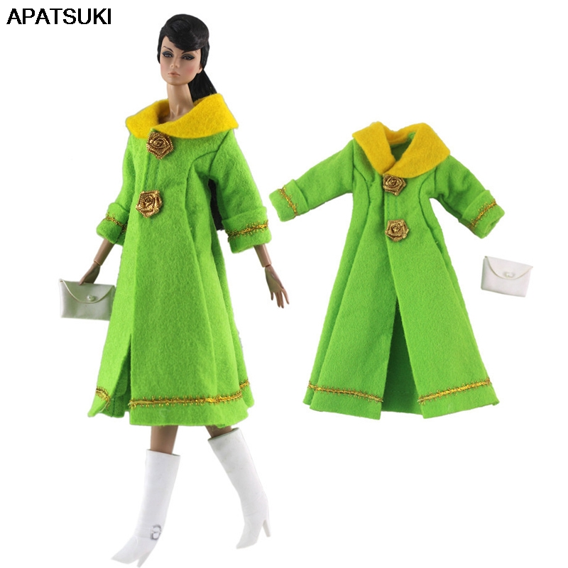 Green Fashion Doll Clothes For Barbie Dollhouse Long Coat & Handbag 1/6 Doll Accessories For Barbie Doll Outfits Kids Toy