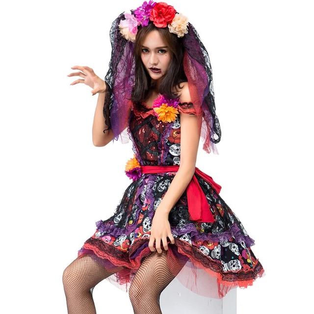 adult women halloween death of day horror corpse bride fiesta costume skull print dress dead sugar