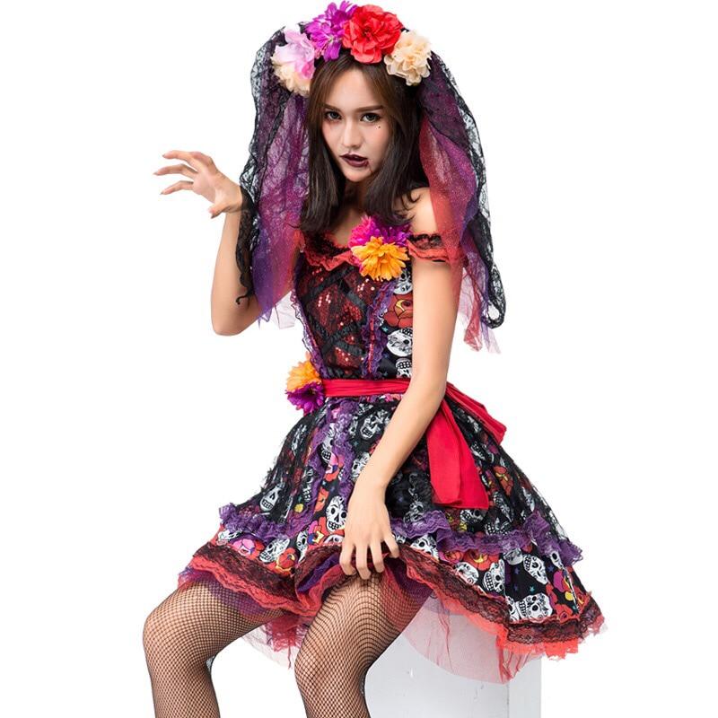 2230a5245 Adulto Mulheres Dia Morte Halloween Esqueleto Crânio Horror Fantasma  Vampiro Corpse Bride Fiesta Açúcar Fantasia Vestido Traje Cosplay Morto