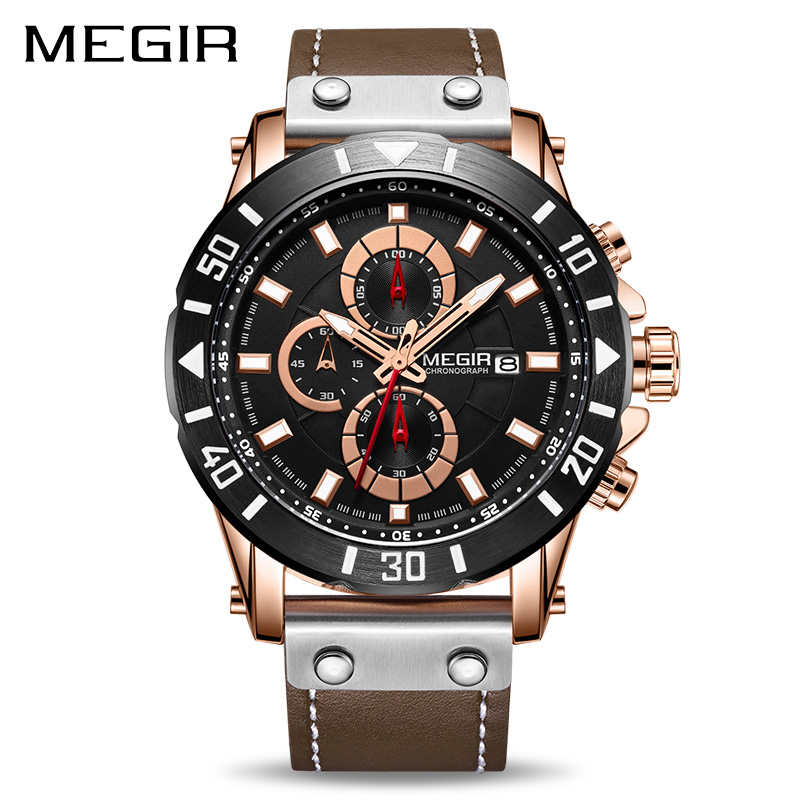 6d97fed3eb06 Reloj MEGIR cronógrafo relojes deportivos para Hombre marca de lujo de  cuero Reloj de cuarzo de los hombres Reloj de pulsera Reloj Masculino Reloj  Hombre en ...