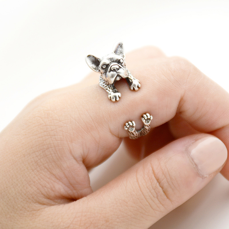 Retro Punk French Bulldog Dog Ring For Women Men Anel Boho Brass Knuckle Anillos Masculino Couple Rings For Pet Lovers Jewelry