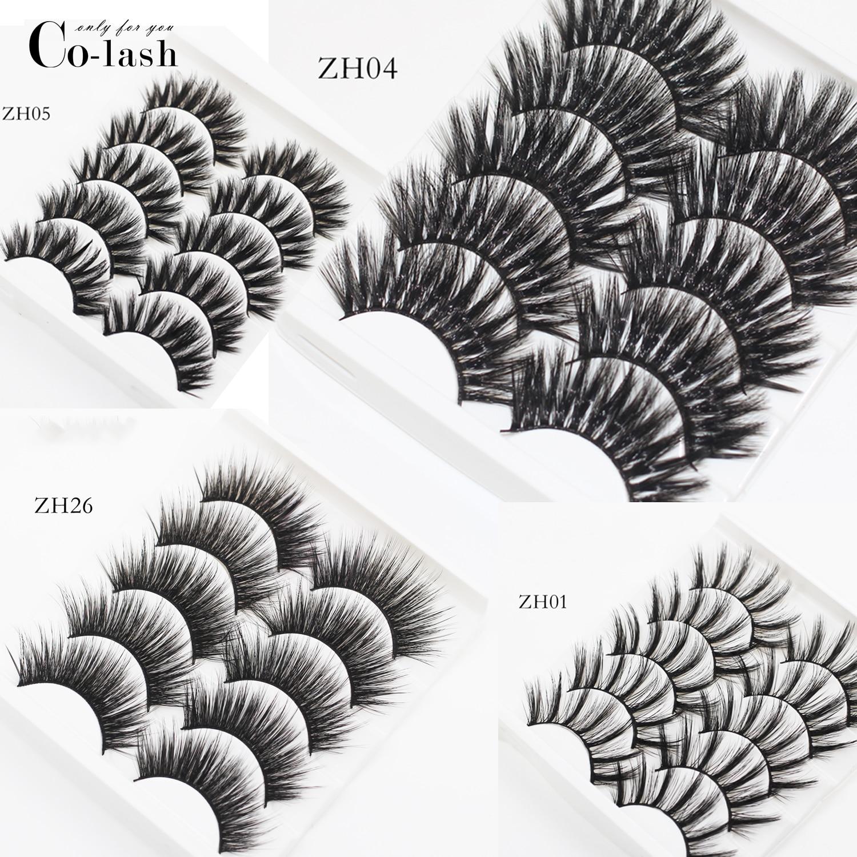 Colash 5 Pairs Eyelashes False Eyelash Handmade Crossing False Eyelashes Long Black Soft Fake Eyelashes Extension Big Eyes