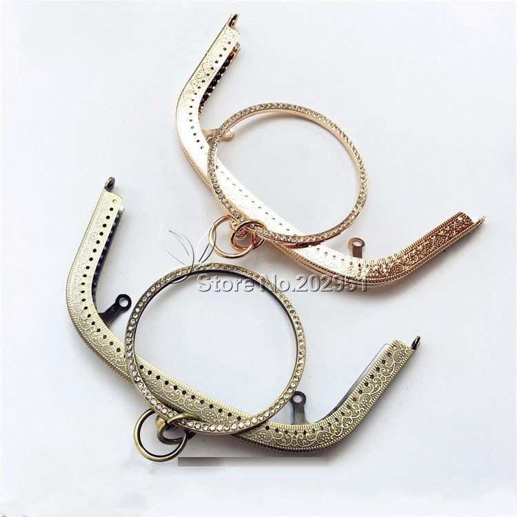 10pcs lot 18 cm Antique Bronze golden Rhinestone bracelet ring Metal Purse Frame clasp handle for