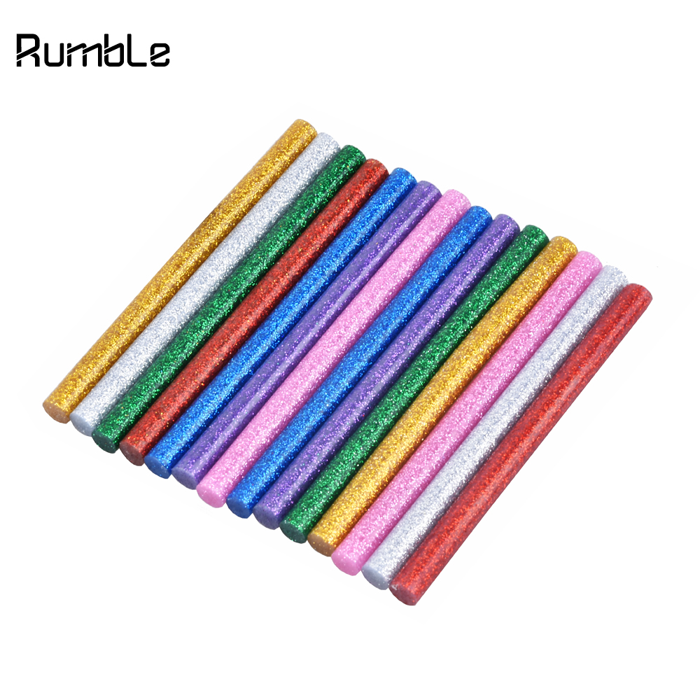 14pcs Glitter Hot Melt Glue Sticks For Glue Gun Craft Phone Case Alloy Toy Art Model Album Repair Accessories Adhesive Stick Clear-Cut Texture Tools Hot Melt Glue Sticks