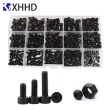 DIN912 Hex Socket Head Cap Machine Screw Metric Thread Hexagon Allen Bolt Nut Black Grade 12.9 Set Assortment Kit Box M3 M4 M5 hex socket head cap screw hexagon metric thread machine allen bolt nut black set assortment kit alloy steel 12 9class m3 m4 m5