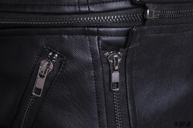Hot M-5XL Men's autumn winter brand rock leather jacket, motorcycle jacket, men leather clothes Slim mens leather jacket Coats