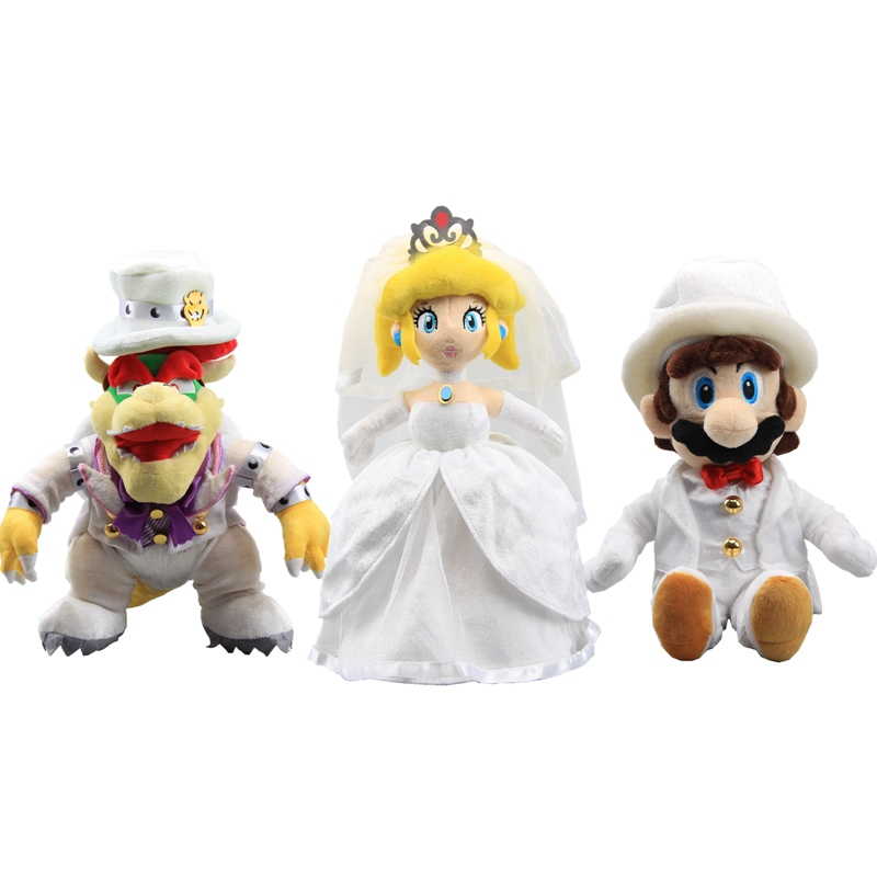 Us 9 66 8 Off 3 Styles Super Mario Bros Odyssey Bowser With Cappy Hat White Bowser Mario Peach Princess Wedding Dolls 23 36 Cm In Movies Tv From