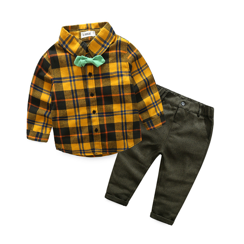 Newborn Baby Boy Clothing Autumn Children Sets Bow Tie Shirts+Pants Kids Boys Suit Gentleman Clothes For Wedding Formal Clothing