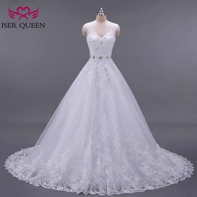 Backless White Color V Neck Europe Fashion A Line Wedding Dress 2019 Sleeveless Custom Made Crystal Sashes Wedding Gown W0041