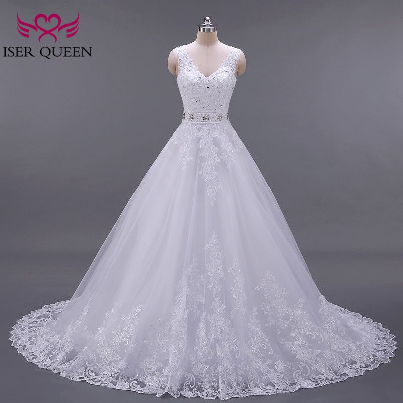 Backless White Color V Neck Europe Fashion A Line Wedding Dress  Sleeveless Custom Made Crystal Sashes Wedding Gown W0041
