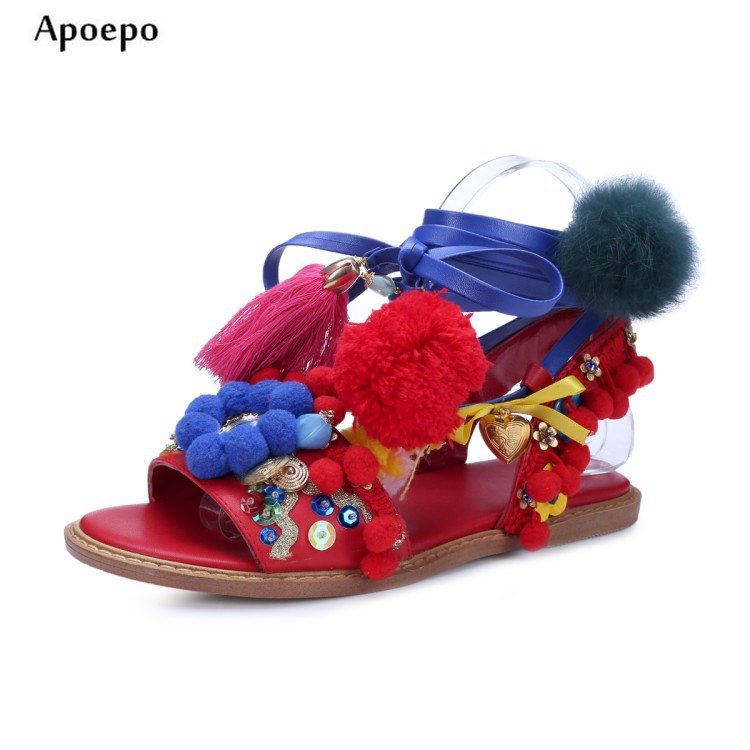 New fashion colorful pom pom woman sandal flower decorations lace-up gladiator sandal leather fringed crystal flat sandal colorful pom pom trim slub tee