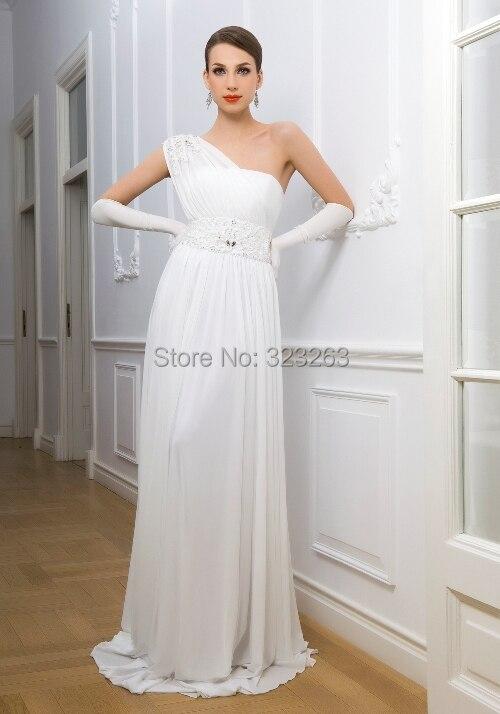Full length informal chiffon one shoulder wedding dresses for Fully beaded wedding dresses