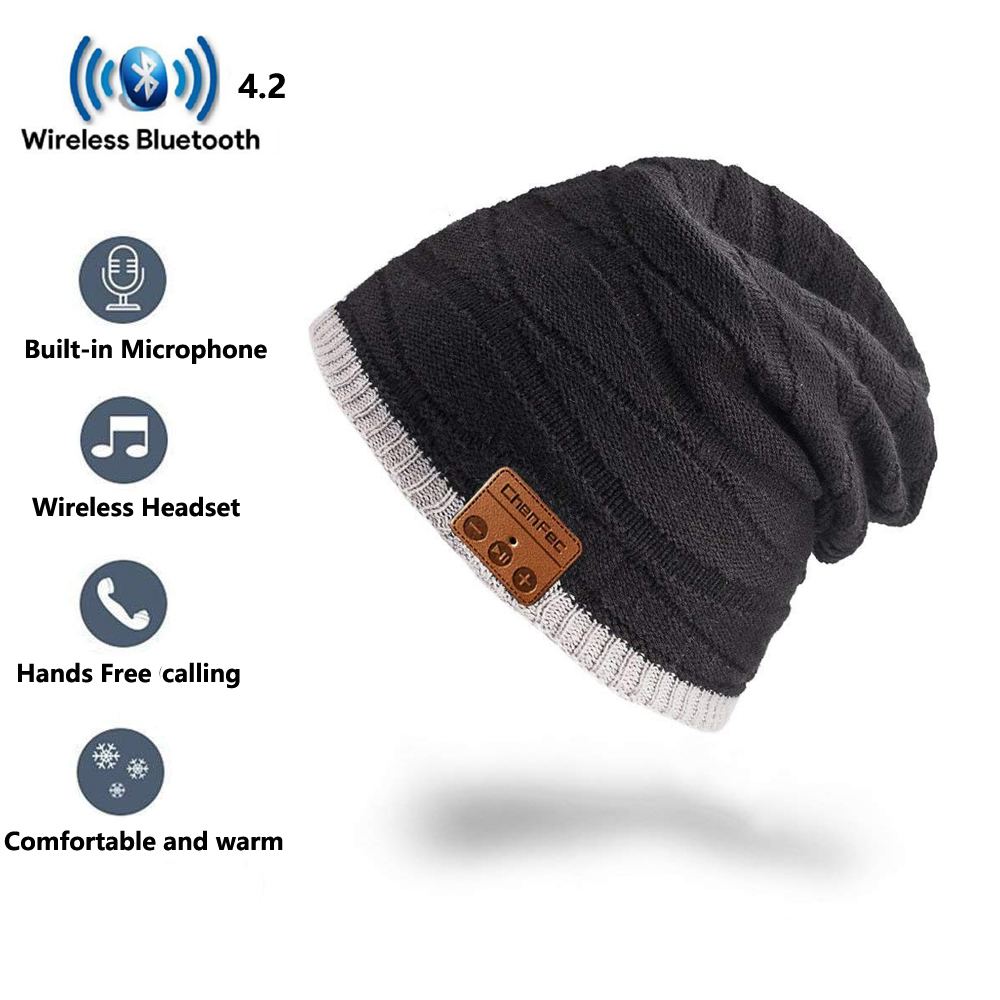 Unisex Wireless Beanie Bluetooth Musical Hat with Speaker Mic Winter Warm Sport Cap Smart Caps Headset earphone for men women
