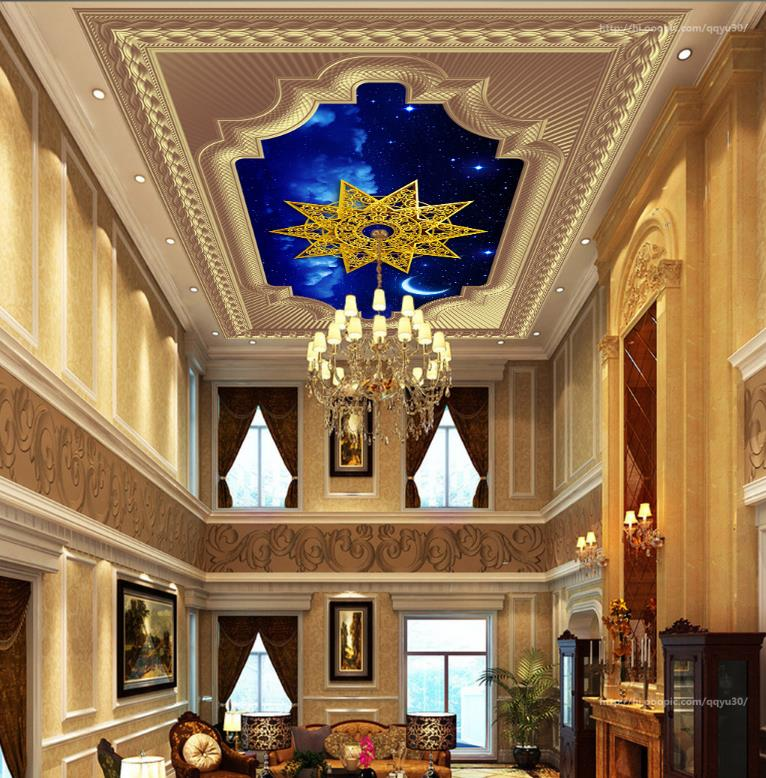 Gold Photo Wallpaper 3d Ceiling Pattern sky Wall papers Home Decor papel de parede do desktop Wallpaper Ceiling 3d 3d ceiling murals wallpaper blue sky and white clouds living room bedroom sky ceiling mural wall papers home decor