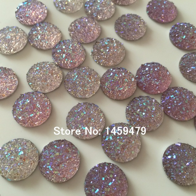 Hot sell Acrylic Rhinestone products 100pcs 14mm Ore Resin Crystal Light  Purple AB Round Stick-On For Garments Bags Shoes Hats 328b4e8f4d91