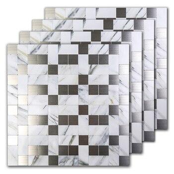 2019 Мраморный и смешанный металл стикер на стену s для кухни Backsplash 12 дюймов DIY мраморный дизайн Туалет 3D серебро стикер на стену 5 упаковок