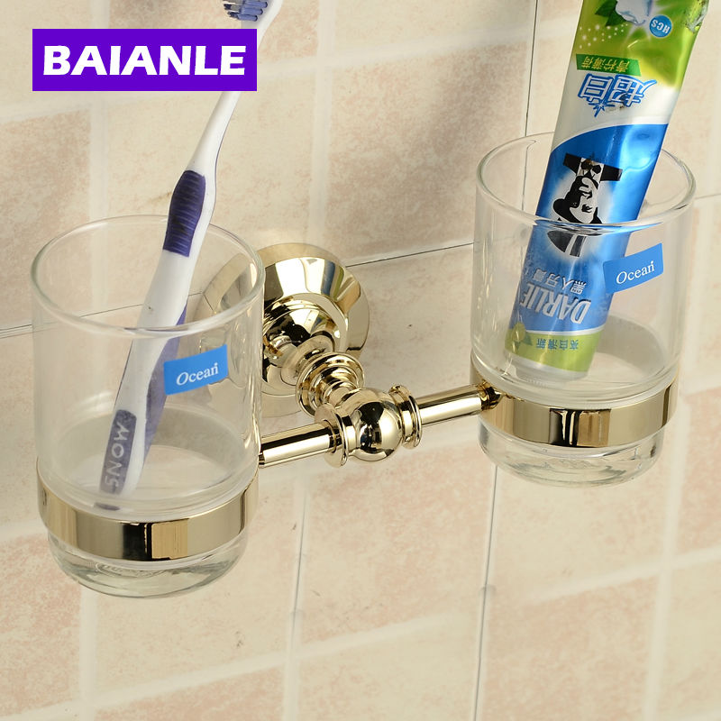 Fashion style Double Tumbler Holder,Toothbrush Cup Holder, Brass Base with Gold finish+Glass Cup,Bathroom Accessories flg new modern accessories luxury european style golden copper toothbrush tumbler