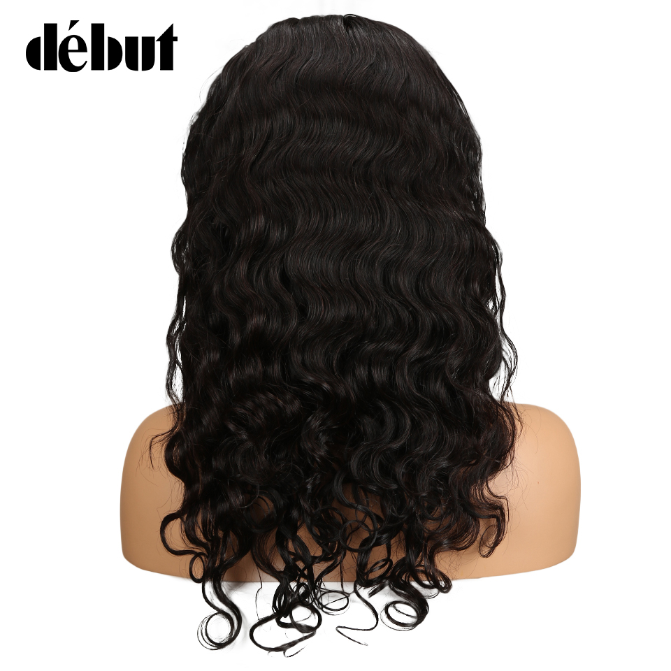 """Дебютные волосы 360 синтетический Frontal шнурка волос Парик предварительно сорвал с ребенком волос 1""""-24"""" средства ухода за кожей волна натураль"""