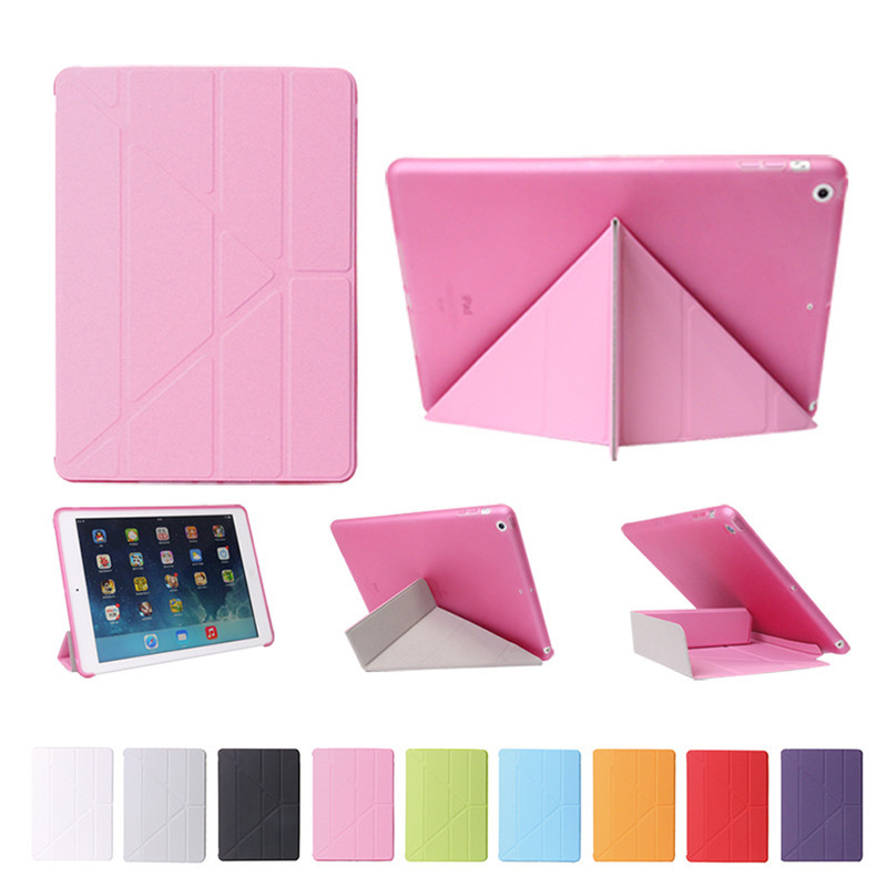 For New iPad Air Smart Case Cover transformer, Durable Transparent Slim TPU Back Cover for iPad 5 Case, wake-up sleep function tpu case cover for ipad air