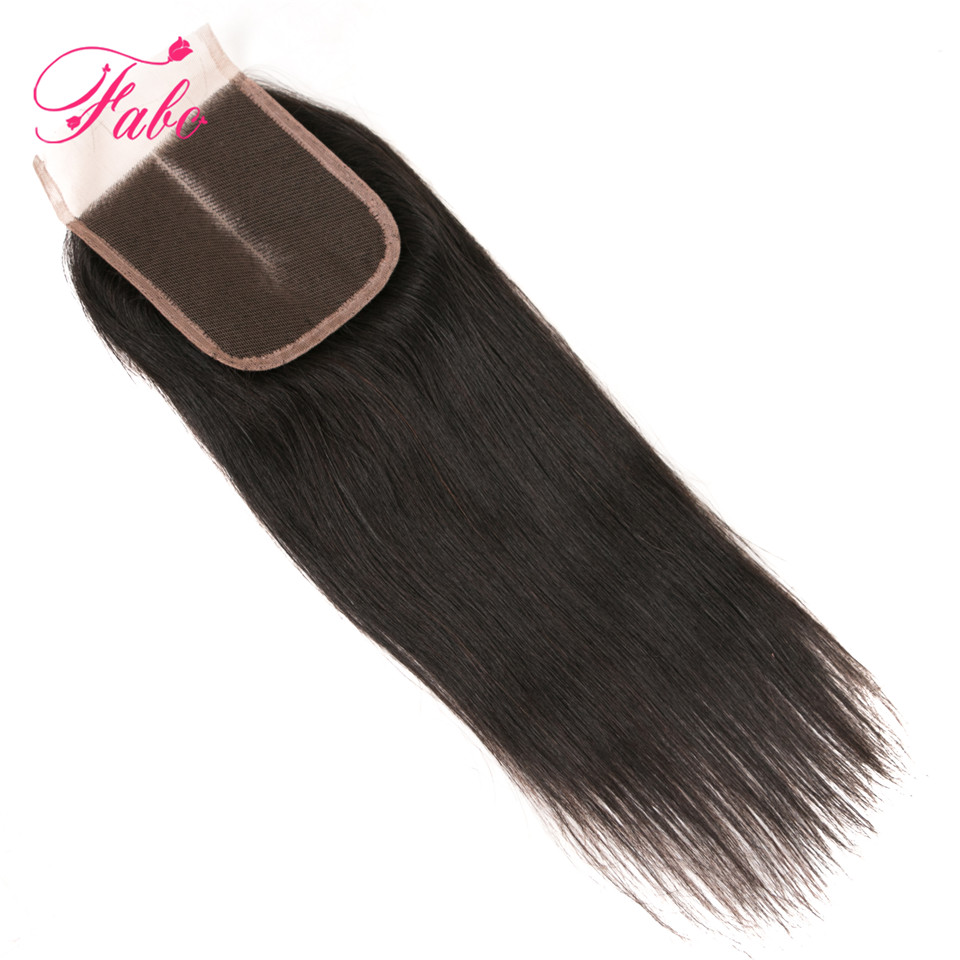 Fabc Hair Brazilian Hair Straight Closure Middle Part Lace Closure 100% Remy Human Hair Swiss Lace 1 Piece Free Shipping
