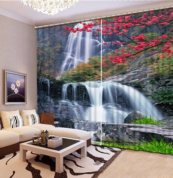 3D Curtains Waterfall scenery Blackout Curtains for Living Room Bedroom 3d curtains modern style