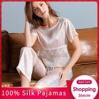 Women 100% Real Silk Pajamas Set 2019 Solid Nightgown Pyjama Femme Short Sleeve Bedgown Silk Girls 16 m/m Silk Sleepwear Suits