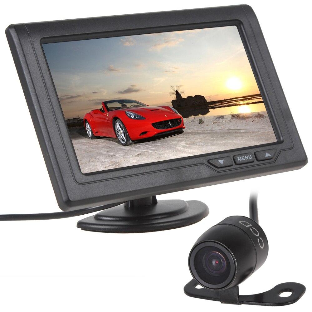 4.3 инчов 480 x 272 TFT LCD 2-канален видеовход Монитор за задно виждане на автомобила с E306 Цвят CMOS CCD камера за обратно виждане