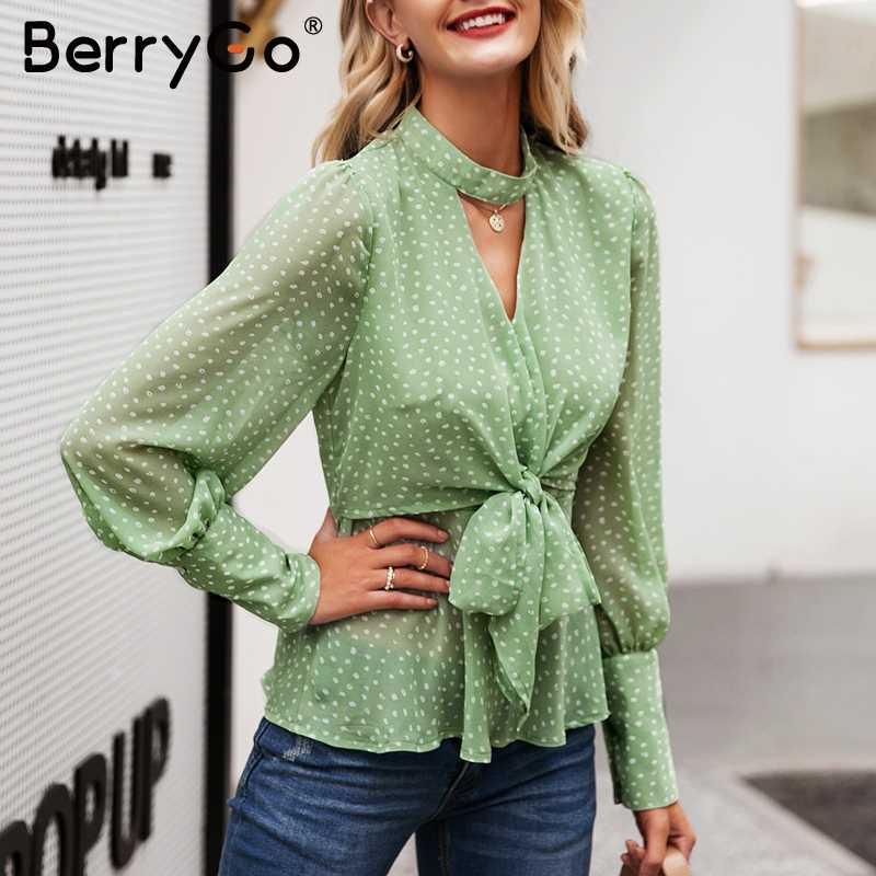 BerryGo винтажная шифоновая зеленая блузка в горошек женская рубашка галстук-бабочка с высокой талией женские топы с баской с пышными рукавами Женские кофты блуза