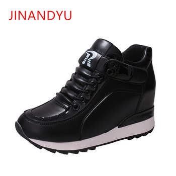 PU Leather Vulcanized Shoes Woman Platform Wedge Sneakers Hidden Heel Height Increasing 2019 Women Casual Shoes Chaussure Femme tuinanle chunky sneakers high heel 10 cm women autumn thick bottom platform sneakers height increasing woman silver casual shoes