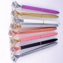 Большой Карат флеш-накопитель со стразами драгоценный камень шариковое кольцо для пера свадебное офисное металлическое кольцо шариковая ручка розовое золото серебро розовый фиолетовый