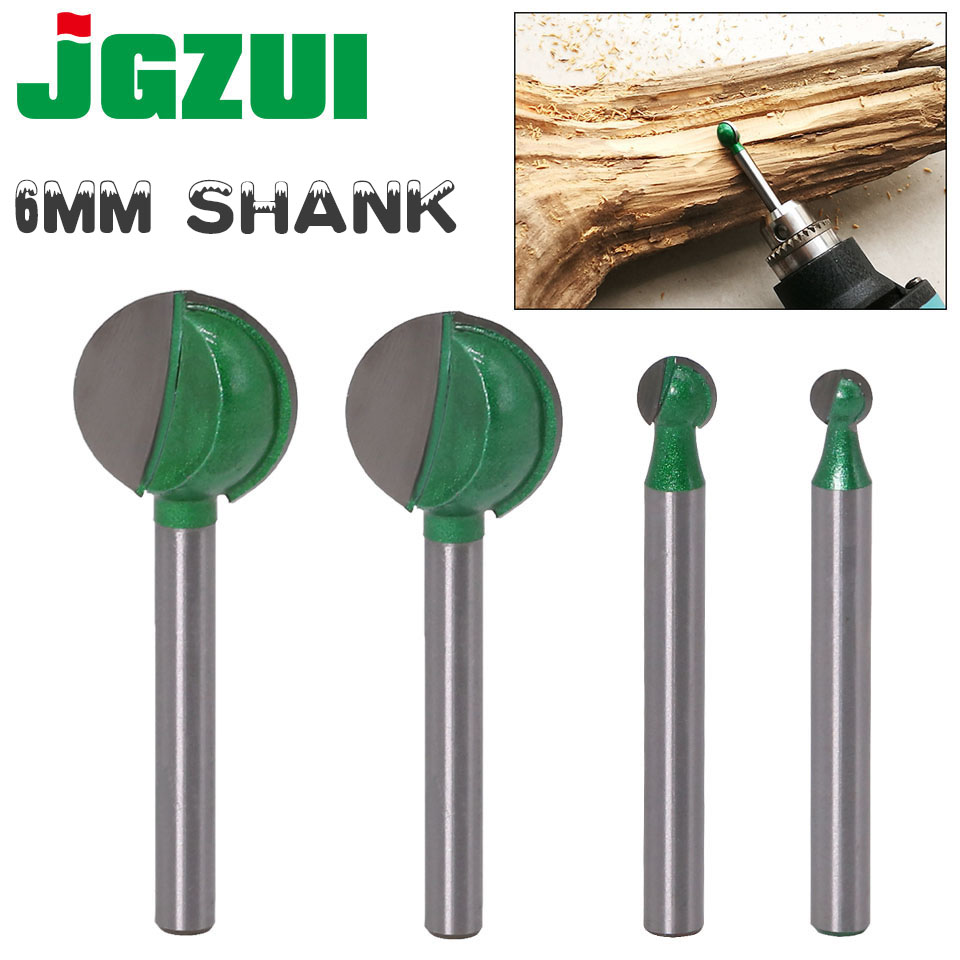 6mm x 6mm Tungsten Carbide Woodworking Ball End Round Carving Router Bit