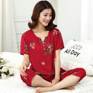 Image 4 - Top Grade nowe kobiece piżamy zestaw bielizna nocna kobiety bawełna nadruk na tkaninie lnianej kwiat piżamy lato dorywczo luźna bielizna nocna odzież domowa