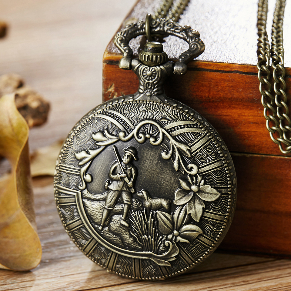 Soldier Guard Hunting Pocket Watch Necklace Clock With Chain Men & Women Dog Flower Laser Engraved Steampunk Quartz Fob Watches