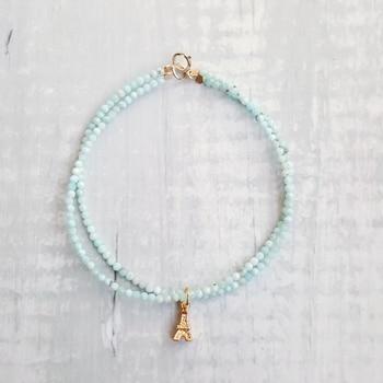 Bracelet En Véritable Perle Larimar Femme