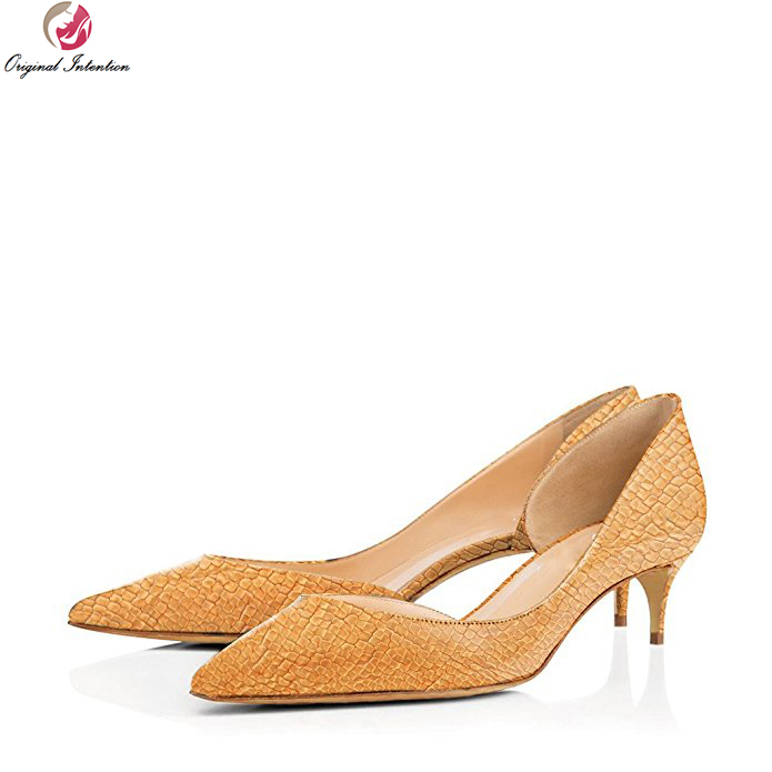 Original Intention Elegant Women Pumps High-quality Pointed Toe Spike Heels Pumps 12 Colors Shoes Woman Plus US Size 4-15 original intention women shoes elegant pointed toe ankle strap spring autumn style pumps woman high heels office shoes plus size