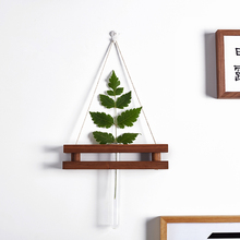 Nordic Plant Glass Vase Wall-mount Wooden Decoration Home Flower Accessories