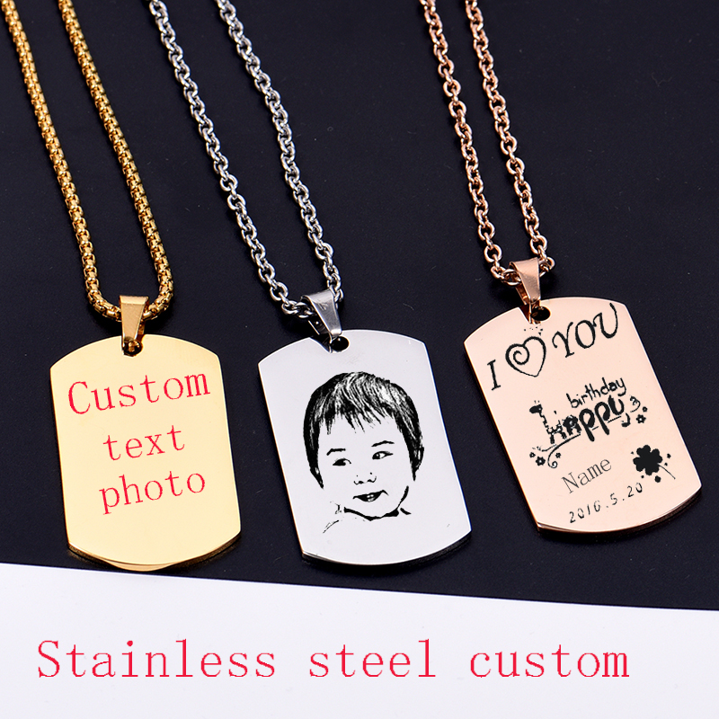 Customized Engraved Words Motto Family Friend Group Photo View Monumental Nameplate Unisex Necklace ID Tag Pendant Family Gifts Pakistan