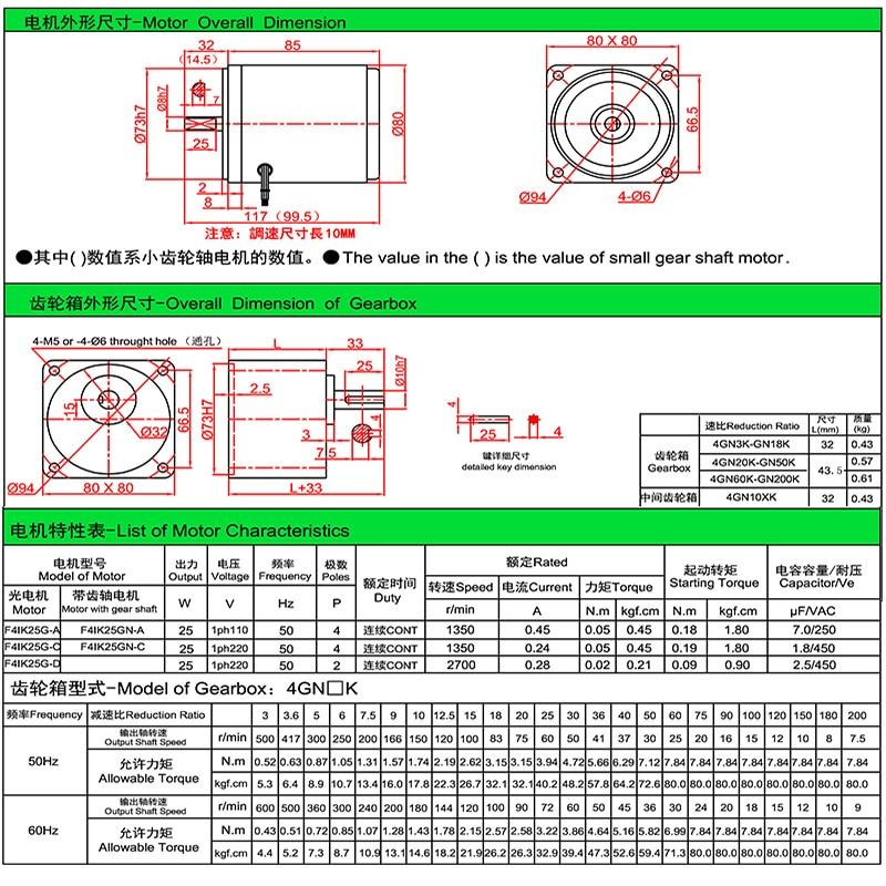 4IK25GN C Einphasig AC Getriebemotor 220 V 25 Watt Reversible Motor ...