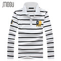 MOGU 2017 Spring Autumn Long-sleeve Polo Shirt Men Fashion Stripe Polo Men Turn-down Collar Long Sleeve Shirt Plus Size 4XL 5XL